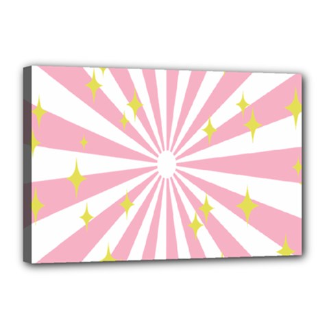 Hurak Pink Star Yellow Hole Sunlight Light Canvas 18  X 12  by Mariart