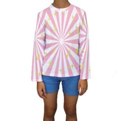 Hurak Pink Star Yellow Hole Sunlight Light Kids  Long Sleeve Swimwear by Mariart