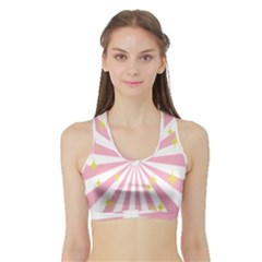 Hurak Pink Star Yellow Hole Sunlight Light Sports Bra With Border by Mariart