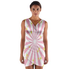Hurak Pink Star Yellow Hole Sunlight Light Wrap Front Bodycon Dress