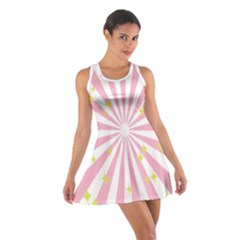 Hurak Pink Star Yellow Hole Sunlight Light Cotton Racerback Dress by Mariart