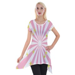 Hurak Pink Star Yellow Hole Sunlight Light Short Sleeve Side Drop Tunic