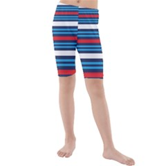 Martini Style Racing Tape Blue Red White Kids  Mid Length Swim Shorts by Mariart