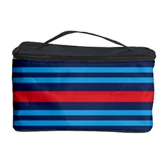 Martini Style Racing Tape Blue Red White Cosmetic Storage Case by Mariart