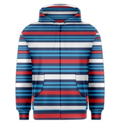 Martini Style Racing Tape Blue Red White Men s Zipper Hoodie by Mariart