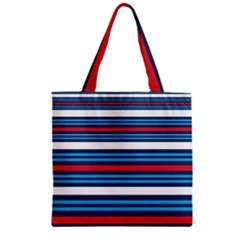 Martini Style Racing Tape Blue Red White Zipper Grocery Tote Bag by Mariart