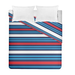 Martini Style Racing Tape Blue Red White Duvet Cover Double Side (full/ Double Size) by Mariart