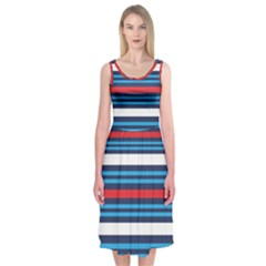 Martini Style Racing Tape Blue Red White Midi Sleeveless Dress by Mariart