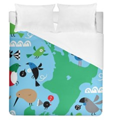 New Zealand Birds Detail Animals Fly Duvet Cover (queen Size) by Mariart