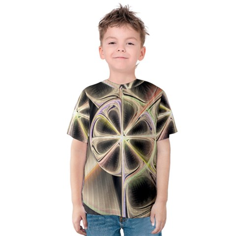 Background With Fractal Crazy Wheel Kids  Cotton Tee by Simbadda