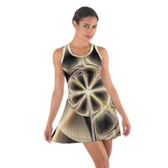 Background With Fractal Crazy Wheel Cotton Racerback Dress