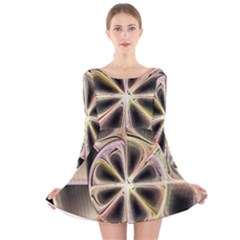 Background With Fractal Crazy Wheel Long Sleeve Velvet Skater Dress by Simbadda