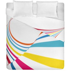 Line Rainbow Orange Blue Yellow Red Pink White Wave Waves Duvet Cover Double Side (california King Size) by Mariart