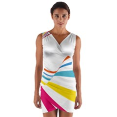 Line Rainbow Orange Blue Yellow Red Pink White Wave Waves Wrap Front Bodycon Dress by Mariart