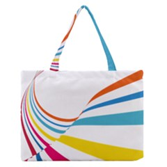 Line Rainbow Orange Blue Yellow Red Pink White Wave Waves Medium Zipper Tote Bag by Mariart