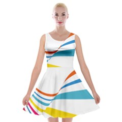 Line Rainbow Orange Blue Yellow Red Pink White Wave Waves Velvet Skater Dress by Mariart