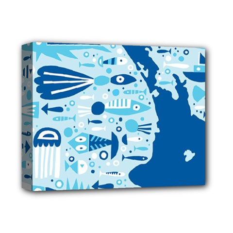 New Zealand Fish Detail Blue Sea Shark Deluxe Canvas 14  X 11  by Mariart