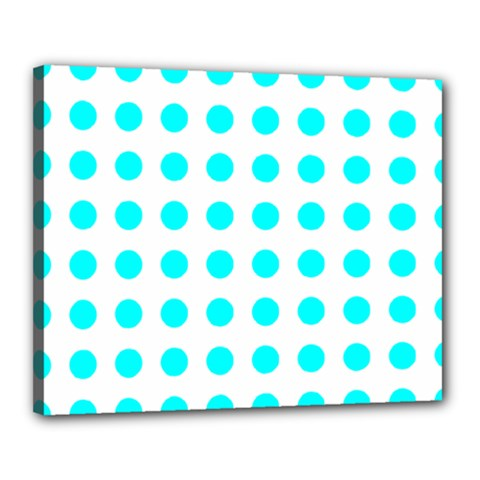 Polka Dot Blue White Canvas 20  X 16  by Mariart