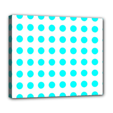 Polka Dot Blue White Deluxe Canvas 24  X 20   by Mariart