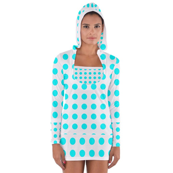 Polka Dot Blue White Women s Long Sleeve Hooded T-shirt