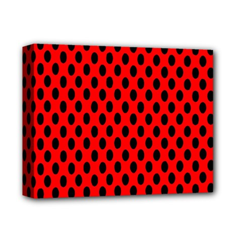 Polka Dot Black Red Hole Backgrounds Deluxe Canvas 14  X 11  by Mariart