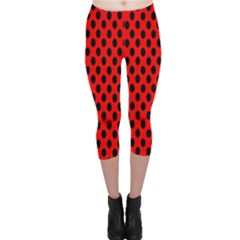 Polka Dot Black Red Hole Backgrounds Capri Leggings  by Mariart