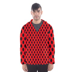 Polka Dot Black Red Hole Backgrounds Hooded Wind Breaker (men) by Mariart