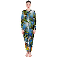 High Detailed Fractal Image Background With Abstract Streak Shape Onepiece Jumpsuit (ladies)