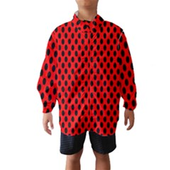 Polka Dot Black Red Hole Backgrounds Wind Breaker (kids) by Mariart