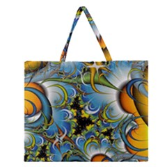 High Detailed Fractal Image Background With Abstract Streak Shape Zipper Large Tote Bag by Simbadda