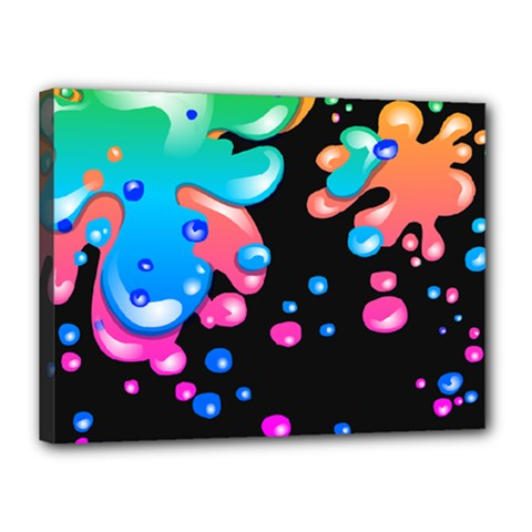 Neon Paint Splatter Background Club Canvas 16  X 12  by Mariart