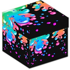 Neon Paint Splatter Background Club Storage Stool 12   by Mariart