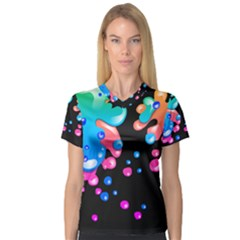 Neon Paint Splatter Background Club Women s V Neck Sport Mesh Tee by Mariart