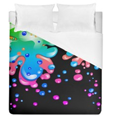 Neon Paint Splatter Background Club Duvet Cover (queen Size) by Mariart