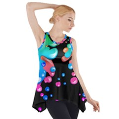 Neon Paint Splatter Background Club Side Drop Tank Tunic by Mariart