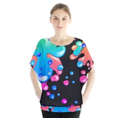 Neon Paint Splatter Background Club Blouse by Mariart