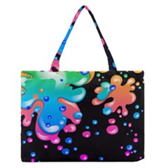 Neon Paint Splatter Background Club Medium Zipper Tote Bag by Mariart