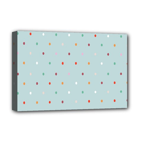 Polka Dot Flooring Blue Orange Blur Spot Deluxe Canvas 18  X 12   by Mariart