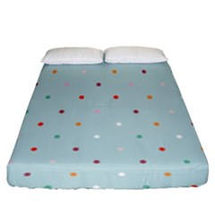 Polka Dot Flooring Blue Orange Blur Spot Fitted Sheet (king Size) by Mariart