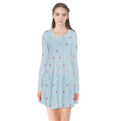 Polka Dot Flooring Blue Orange Blur Spot Flare Dress by Mariart
