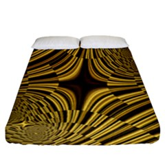 Fractal Golden River Fitted Sheet (california King Size)