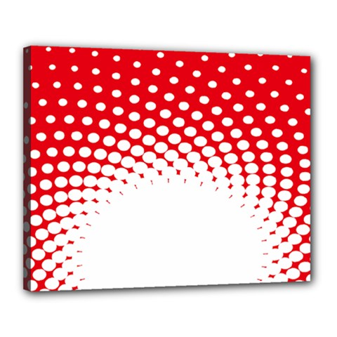 Polka Dot Circle Hole Red White Canvas 20  X 16  by Mariart