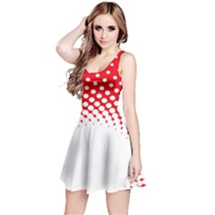Polka Dot Circle Hole Red White Reversible Sleeveless Dress by Mariart