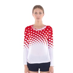 Polka Dot Circle Hole Red White Women s Long Sleeve Tee by Mariart