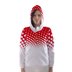 Polka Dot Circle Hole Red White Hooded Wind Breaker (women) by Mariart
