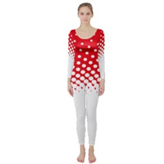 Polka Dot Circle Hole Red White Long Sleeve Catsuit by Mariart