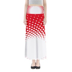 Polka Dot Circle Hole Red White Maxi Skirts by Mariart