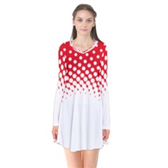 Polka Dot Circle Hole Red White Flare Dress by Mariart