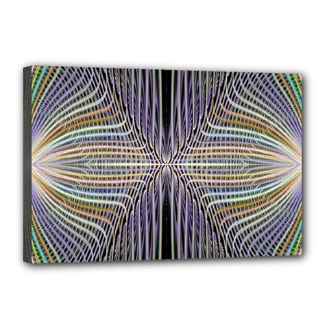 Color Fractal Symmetric Wave Lines Canvas 18  X 12  by Simbadda