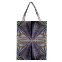 Color Fractal Symmetric Wave Lines Classic Tote Bag